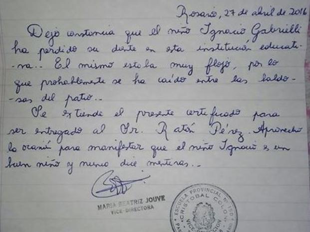 Habló la docente que le mando una nota al Ratón Pérez